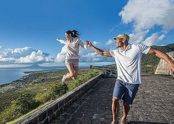 Couple laughing and exploring Brimstone Hill Fortress